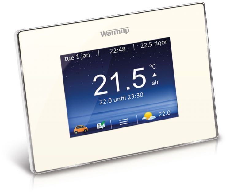 Warmup - 4iE Smart WiFi Thermostat - Bright Porcelain